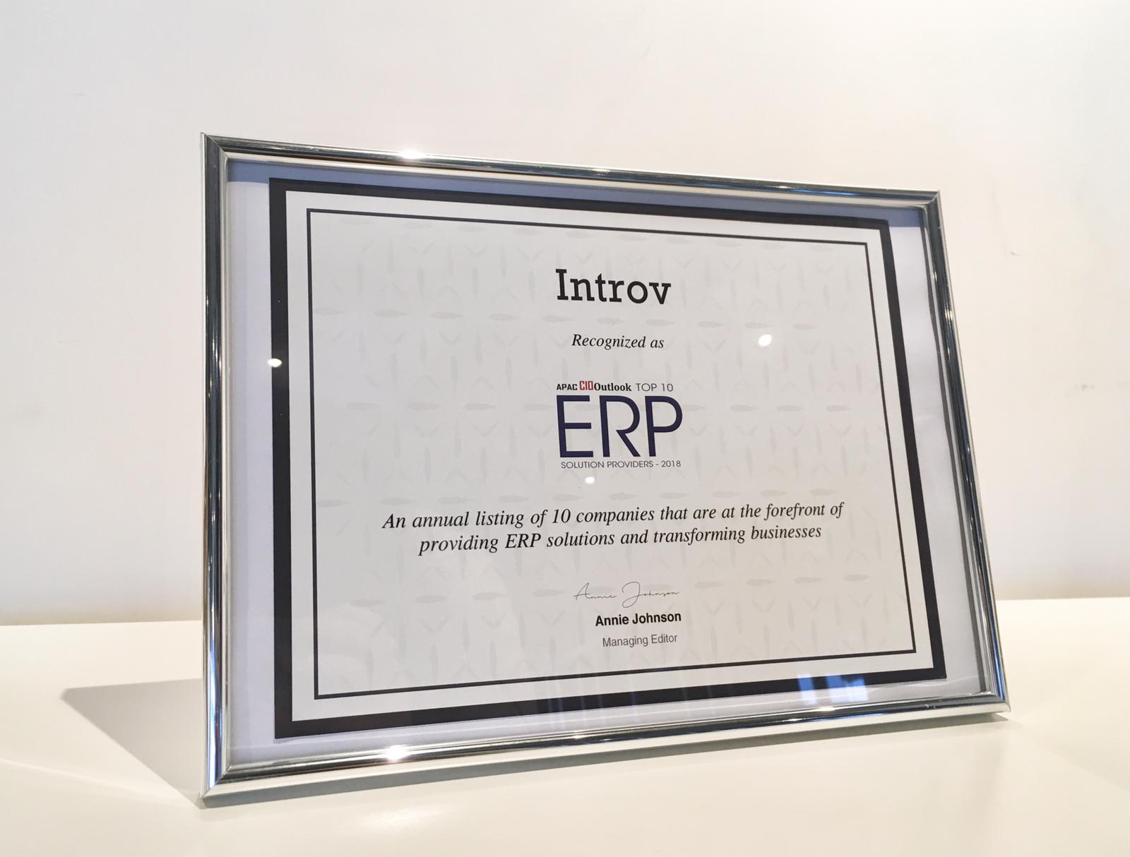 "Introv Crowned ""Top 10 ERP Solution Providers 2018"""