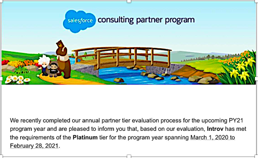 Introv recognised as the Platinum Counsulting Partner of Salesforce.com (2017 – 2021)